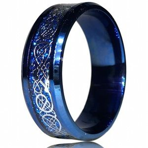 Blue and Silver Tribal Celtic Dragon Ring
